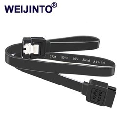 Discount sata 6gb cable - WEIJINTO 4pcs lot Super Speed 45CM Straight 90 Right Angle SataIII cable 3.0 6GB SATA III Cable Flat