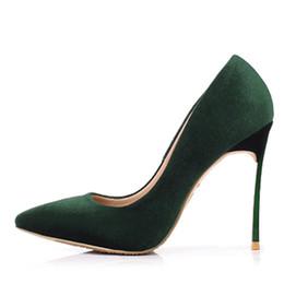Spring Women Velvet NZ - Spring stilettos high heels pumps slip on metal heels for woman slip on fashion sexy velvet dress shoes