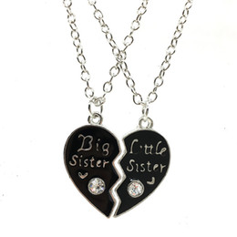 Broken Chain NZ - Wholesale Price Big Little Sister letters diamond heart-shaped broken necklace good sister girlfriend family chain Free shipped