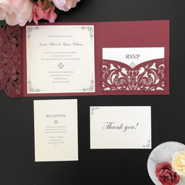 laser cut birthday cards 2018 - Burgundy Shimmer Square Laser Cut Wedding Invitation DIY Wedding Party Invites with RSVP Card FREE PRINTING cheap laser