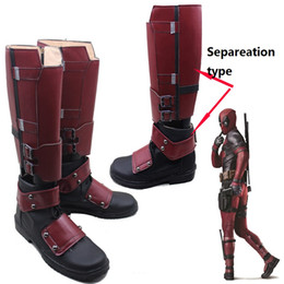 Wholesale custom made costume deadpool online – ideas Deadpool From X men Cosplay Superhero X Men Deadpool Boots Shoes High Quality PU Custom Made