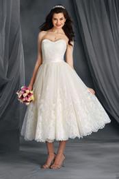 $enCountryForm.capitalKeyWord NZ - US2-28W++ A Line Short Bridal Dress Strapless Lace Wedding Gowns Latest Design Sash Vintage Tea Length Custom Made Open Back Appliques