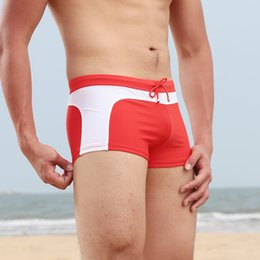 Discount male swim bikini - 2018 brand Men beach Shorts Swimwear Push-Up Man Swimsuit low waist sexy sport beach Male Bikini Swimming Trunks swim bo