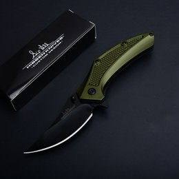 Knife Black Coating NZ - 2Pcs New Tactical Folding Knife 440C Black Coated Blade Green Aluminum Handle Flipper Knives With Retail Box