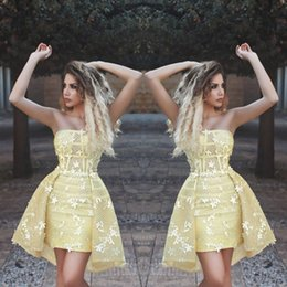 Zuhair murad cocktail online shopping - Zuhair Murad Yellow Cocktail Dresses With Detachable Train Short Lace Evening Gowns Floral Strapless Couture Latest Homecoming Dress