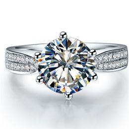 $enCountryForm.capitalKeyWord Australia - Keenly Shining 1Ct 6.5mm G-H Test Positive Moissanite Diamond Wedding Ring CHARLES & COLVARD WARRANTY 925 Sterling Silver Ring