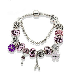 Wholesale american castles for sale – custom Hotsale New Charm Bracelet Silver Bracelets Castle Beads Eiffel Tower pendant Bangle for gift Diy Jewelry Accessories with box
