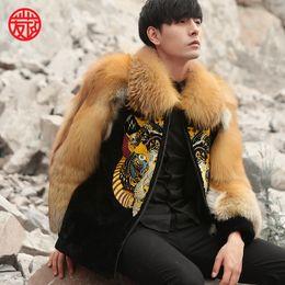 Wholesale sheepskins coats resale online - 2018 new design modern embroidered mens real sheepskin coat