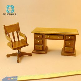 Wood Office Chairs Australia - Mini office chair 1:12 scale doll house miniature wooden furniture swivels chair desk sets