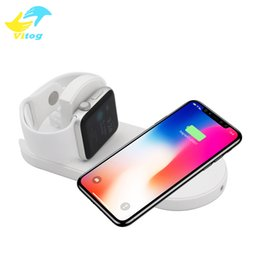 China Fast Qi Wireless Charger 2 in 1 Wireless Charger With Cable For iPhone 8 Plus X iWatch Apple Watch Samsung Galaxy S6 S7 S8 Plus cheap qi for iphone suppliers