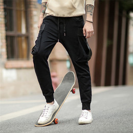 dancing sports pants Canada - Wholesale 2018 NEW Joggers Pants Cotton for men Trousers Sport Jogging Pants with side pockets Hip Hop Gym Dance casual pants