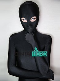 Discount sexy green catsuit - Free Shipping Sexy Black Color Smooth Full Body Lycra Second Skin Tight Zentai Suit Long Sleeve Bodysuits For Lady Open