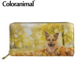 $enCountryForm.capitalKeyWord Australia - Coloranimal Men Long Wallet With Zipper 3D Cute Puppy Dog German Shepherd Print Luxury Leather PU Coin Storage Bag Clutch Purse