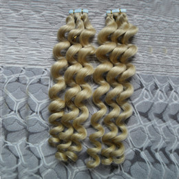 Discount 26 brazilian remy hair - 40pcs Remy Skin Weft Tape In Human Hair Extensions Loose Wave Double Drawn Tape Hair Extensions Human Glue on Hair