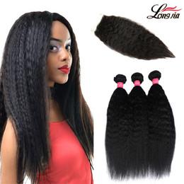 kinky weave bundles closure 2019 - Peruvian Kinky Straight Hair Weave Bundles With Closure 100% Human Hair 3 Bundles With Lace Closure Yaki Straight Hair c