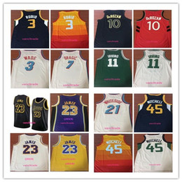0325f192ed9c 2019 Lakers 23 LeBron James 45 Donovan Mitchell 3 Dwyane Wade 10 DeRozan 21  Whiteside 7 Dragic 11 Irving 3 Ricky Rubio Basketball Jerseys