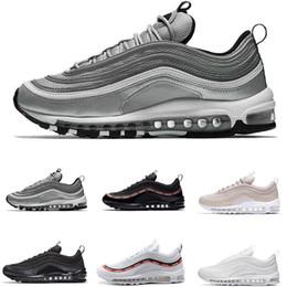7c60ef09800 News 97 running shoes OG TTriple white balck green Silver Bullet Metallic  Gold japan grey Mens women sport shoe Sneakers 36-45
