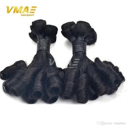 perms for black hair 2019 - Best Selling Curly Peruvian Cheap Hair 3 Bundles Double Weft Natural Black Nice Funmi curly Hair for Women