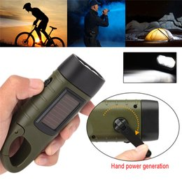 RechaRgeable solaR toRch online shopping - Emergency Flashlight Hand Crank Dynamo Solar Rechargeable led light Charging Powerful Torch For Outdoor Camping lighting