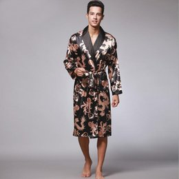 067283777 Hot Sale New Black Chinese Men's kaftan Robes Traditional Male Dragon  Sleepwear Nightwear Kimono With Bandage Wholesale