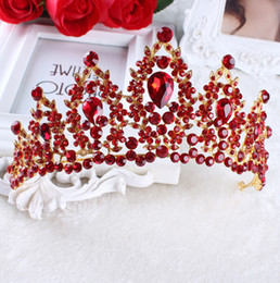 Red Diamond Hair Canada - 2017 Red White Pageant Wedding Crystal Tiaras And Crowns Bridal Rhinestone Tiaras Crowns Hair Jewelry Women girls Hairband