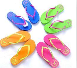 $enCountryForm.capitalKeyWord Australia - 20pcs 5 Colors Girls Pink Flip Flops Love Pink Sandals Pink Letter Beach Slippers Shoes Summer Soft Beach Slipper Y152