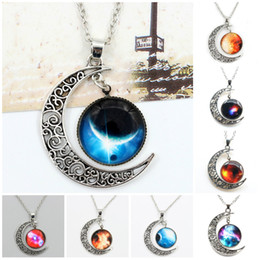 Necklaces Pendants Australia - Chokers Necklace Swarovski Starry Outer Space Universe Gemstone Silver Chain Moon Necklaces Pendant Galaxy Half Crescen Glass Moon Necklace