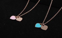 Simple model necklace online shopping - stainless steel necklace double heart pink and blue color can choose mini model simple party neciklace