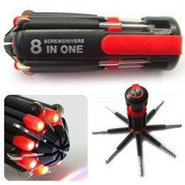 $enCountryForm.capitalKeyWord Australia - 8 in 1 Multi Portable Screwdriver with 6 LED Torch Repair Light Up Multi-functional Integrated Flashlight Set