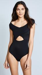 f57b2e2a51638 2018 One-piece swimsuit bikini solid color cross collar swimsuit solid  color simple word collar exposed belly sexy design one-piece swimsuit