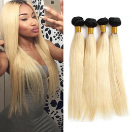 Blond human hair online shopping - 1B Ombre Straight hair Brazilian Blond Straight Virgin Hair Bundles Ombre Straight Human hair Extension