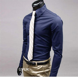 Wholesale dress shirts colors for sale – plus size Size M XL Colors Option New Men s Solid Slim Formal Full Sleeve Cotton Dress Shirts For Men Spring and Autumn S37