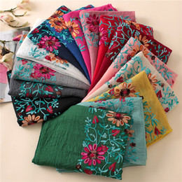 Cotton Viscose Scarves Australia - 2017 Winter Embroidered Floral Viscose Scarf Shawl From Indian Bandana Print Cotton Scarves and Wraps Foulard Sjaal Muslim Hijab