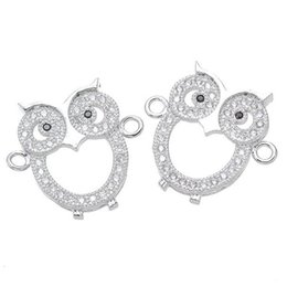 China Wholesale Handmade DIY Jewelry Accessories Luxury Micro Pave Zircon Crystal Owl Charms Pendants Fits European Bracelets Necklace Connectors cheap jewelry pave crystals connectors suppliers