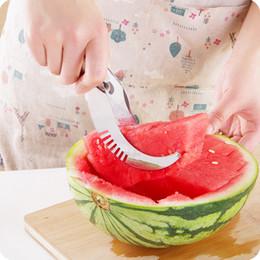 Cutter Fruit Watermelon Australia - New Stainless Steel Watermelon Knife Melon Slicer Cutter Corer Server Splitter Fruit Vegetable Tools