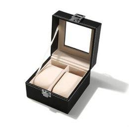 Chinese  11*11*8cm 2 Grid Black PU Wooden Wrist Watch Display Box Jewelry Storage Holder Organizer Case with Window Gift Wrap CCA10568 30pcs manufacturers