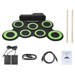 Digital Pedal Australia - HOT Portable Digital Electronic Roll Up Drum Set Kit 7 Silicon Drum Pads USB Powered with Drumsticks Foot Pedals Compact Size free shipping