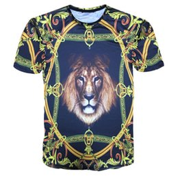 Chinese  Designer Summer 3D T Shirts Mens Golden Flowers Lions Blue Stripe Letter Printed Mens T-Shirts New Fashion Style Tide Tops manufacturers