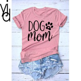 6f02f754f women Loose Size TShirt Tunique Camisa Femme Graphic Tees Women Letter T- shirt Das Mulheres Dog Mom Paw O-neck White Shirt Homme 3XL Tees