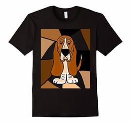 Fashion Abstract T Shirt NZ - Fashion Black Cotton Crew Neck Broadcloth Short Mens Artsy Basset Hound Dog Abstract T Shirt