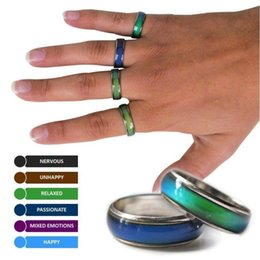 Cheap blaCk engagement rings online shopping - 100 start mix size mood band ring changes color to your temperature reveal your inner emotion cheap fashion jewelry