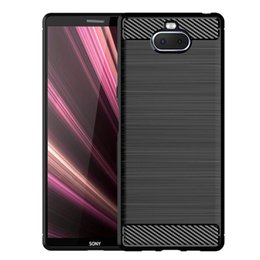 Free Cellphone Cases Australia - For SONY Xperia XA3 XA3 Ultra soft TPU Slim Anti-slip case Carbon Fiber brushed Cellphone Case with retail package and free shipping