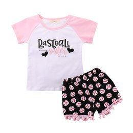 7f3a5e524c51 2018 INS baby girl toddler Kids 2piece set outfits Baseball Tank Tops  Shirts Vest + Tassels Shorts Pants Bloomers Summer Cute outfits