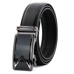 Leather Belts For Buckles Australia - 20PCS Men Belt 2018 Cowhide Genuine Leather Belts For Men Luxury Automatic Buckle Belts Black Cinturones Hombre