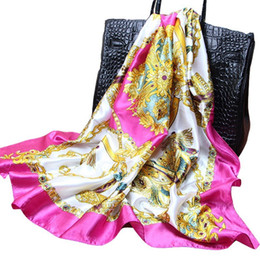 bx 2019 - Cheap Square Lmitated Tippet Silk Scarf ,90x90cm Women Satin Pashmina,Fashion Polyester Ladies Shawls And Scarves BX