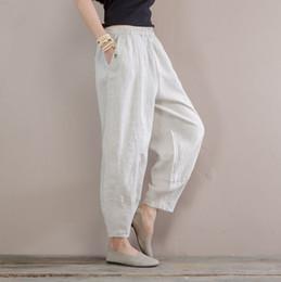$enCountryForm.capitalKeyWord NZ - Women Summer Linen Pants Elastic Waist Solid Color beige Pants For Female Casual Ladies Vintage Trousers