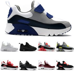 Air Sports Shoes Black Red Canada - 9 Colors Zoom Air KTINY 90 V2 Running Shoes Slip-On Children Athletic Shoes Boys Girls Training Sneaker Kids Sports Shoes Black White Red