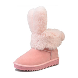 Women leather boot rabbit online shopping - brand design rabbit ear non slip winter cotton shoes factory direct sales new fashions women snow boots best selling B002