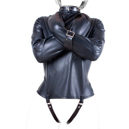 Wholesale Soft PU Leather Fetish Straitjacket Bondage Restraint Top Leather Straight Jacket Fetish Gimp Cosplay Adults Sex Toys For Woman