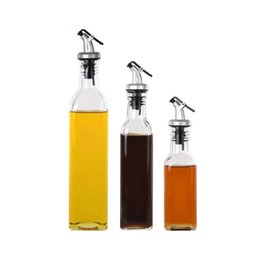 wholesale bottle glass oil vinegar UK - Dustproof Oil Bottles Practical Thicken Kitchen Accessories Clear Lead-free Glass Sauce Vinegar Bottle High Quality wen6784